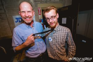 The Happy Hosts: Tom and Jake Scheidel backstage at Wealthy Theatre. (Photo/Anthony Norkus)