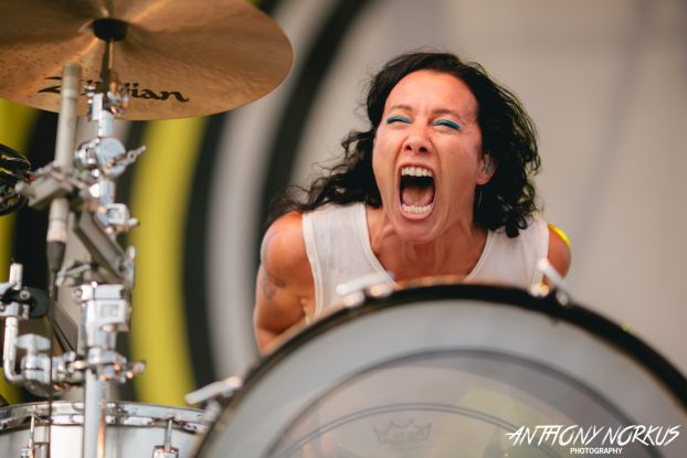 Pop Passion: Matt and Kim turned technical glitches into a dance party during their high-energy set. (Photo/Anthony Norkus)