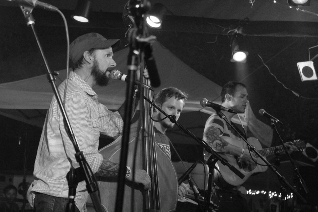 Bluegrass Fire: Fauxgrass was among several bands that got things amped up at Cowpie on Saturday. (Photo/Anna Sink)