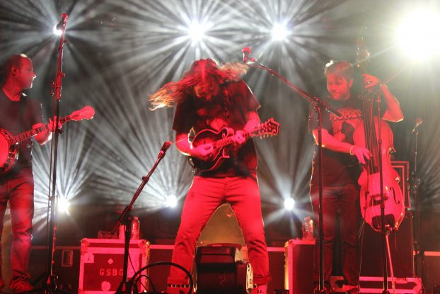 Lighting Up Hoxeyville: Greensky Bluegrass doubled up sets on Saturday night. (Photo/Anna Sink)