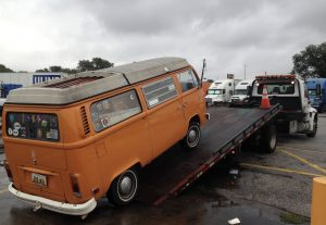 Abrupt Halt on Day 1: Thomasma had to have his VW bus towed in Indiana.
