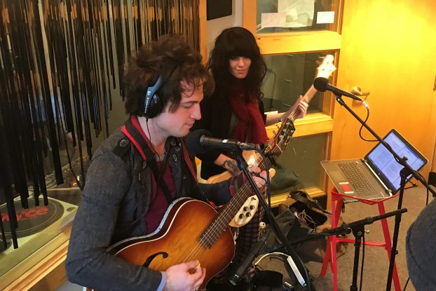 Tom Waits Fans, Musical Collaborators: Olivia Mainville, on right, and Brandon James at WYCE. (Photo/Local Spins)