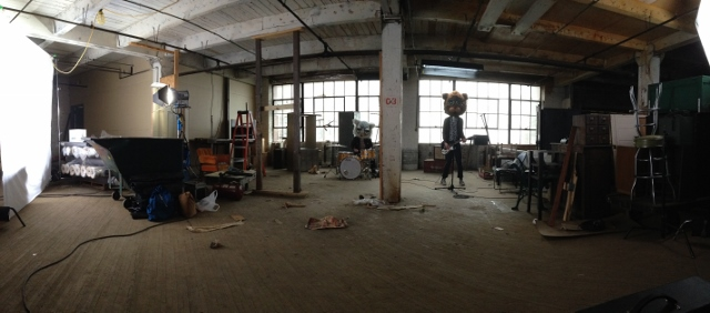 Warehouse Wildness: The Bangups, in animal heads, at the Southwest Side video shoot.