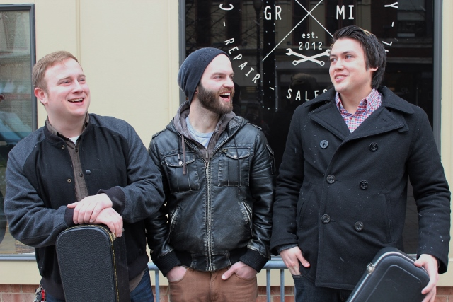 Bonding With Fans: From left, Ryan Ykimoff, Josh Jones and James Johnson of Midwest Skies. (Photo/Anna Sink)