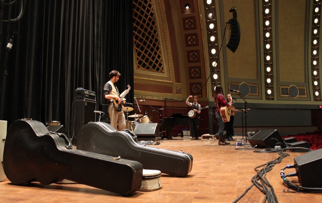 On the Big Stage: The Crane Wives during Saturday's soundcheck in Hill Auditorium. (Photo/Anna Sink)