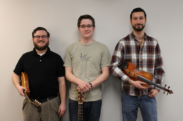 Members of The Waxies, from left, Brendan Malloy, Miles Anderson and Michael Prokopchuk (Photo/Anna Sink)