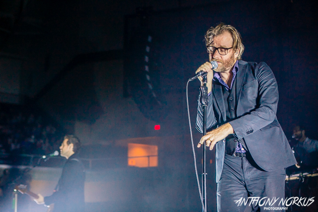 The National Does Calvin:  Matt Berninger led The National through their set Saturday night at Calvin College's Van Noord Arena. (Photo/Anthony Norkus)