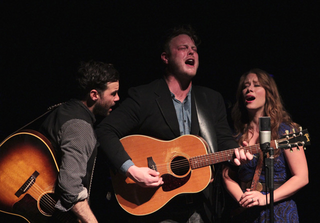 The Lone Bellow at Calvin: Brian Elmquist,  Zach Williams and Kanene Donehey Pipkin. (Photo/Anna Sink)