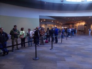 Long Line: Several hundred ticket-buyers waited in line Saturday morning before sales began, with the line weaving through Meijer Gardens. (Photo/Local Spins)