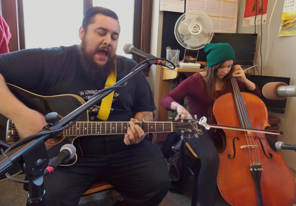 Compelled to Bring Back the DAAC: Joe Rodriguez with cellist Kayla Bolan performing Friday on Local Spins Live at WYCE-FM 88.1. (Photo/Local Spins)