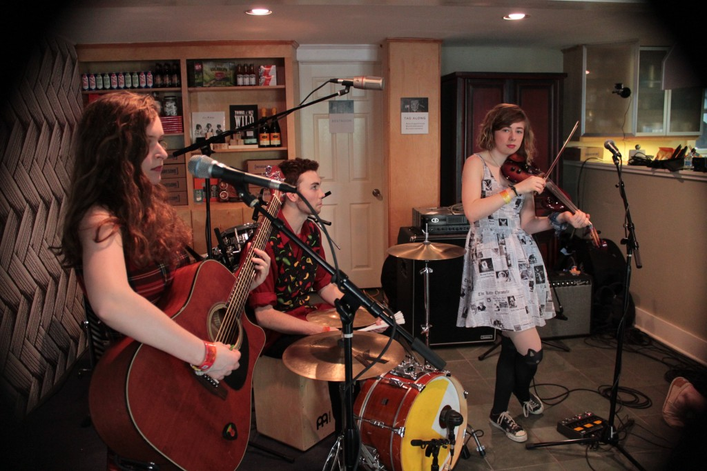 Dining Room Sessions: The Accidentals record an ArtPrize song Tuesday at Creative Many Michigan House in Austin. (Photo/Anna Sink)