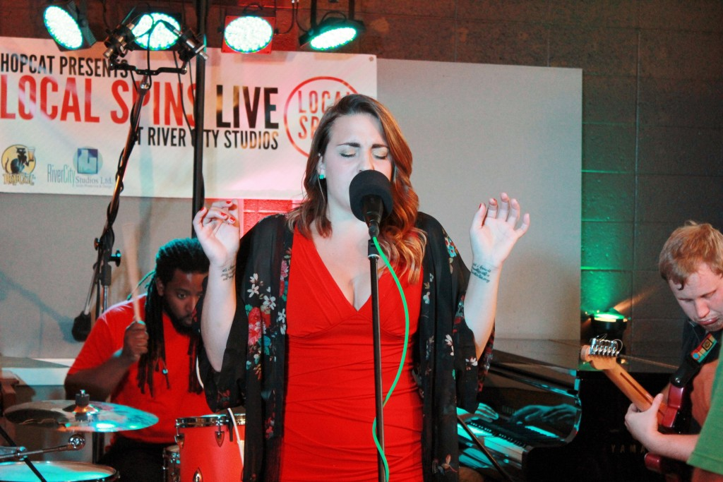 River City Soul: Hannah Rose Graves and her band lit up River City Studios for Local Spins Live. (Photo/Anna Sink)