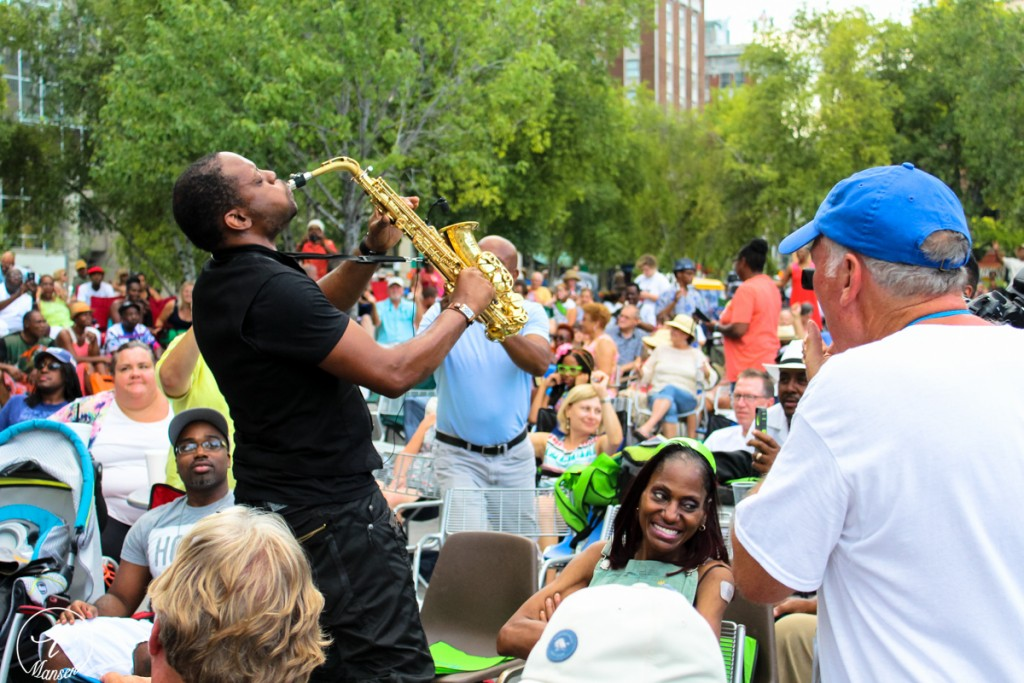 Steamy Saxophone: Jackiem Joyner got into his jazz and into the crowd at GRandJazzFest Saturday. (Photo/Taylor Mansen)