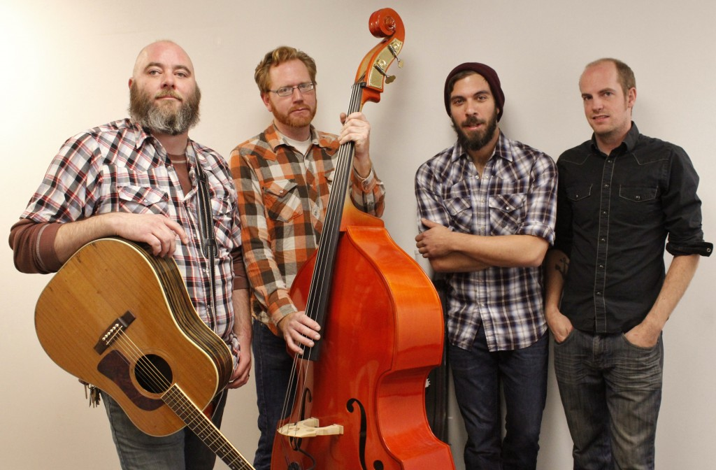 """'As Country-Fried' As They Can Be: The Bootstrap Boys, from left, Jake Stilson, Josh """"Clyde"""" McBryde, Jon Pataky and Nick Alexander. (Photo/Anna Sink)"""