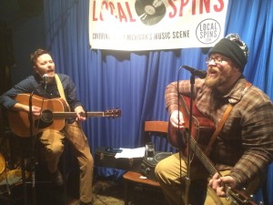 Jumping Aboard: Kyle Rasche, at left, performing recently with Justin 'Stovepipe' Stover. (Photo/Local Spins)