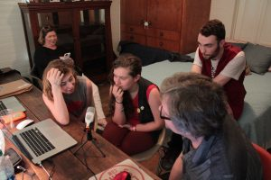 Radio Interview: The Accidentals at Michigan House being interviewed for Local Spins on WYCE. (Photo/Anna Sink)