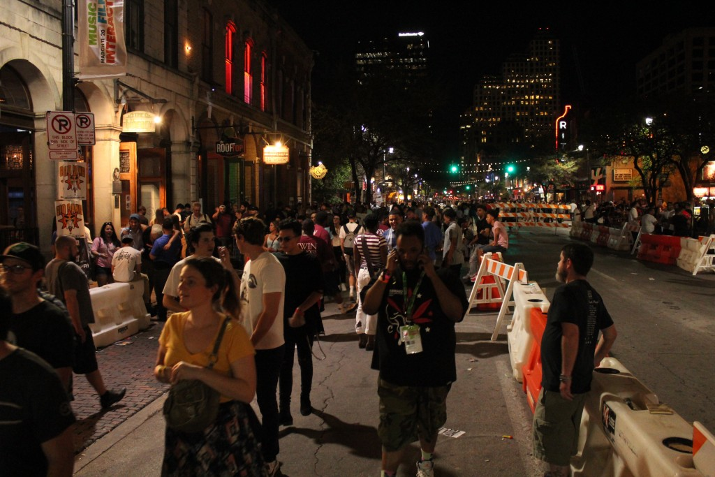 SXSW Music Ramping Up: 6th Street was buzzing on a Tuesday night in Austin. (Photo/Anna Sink)