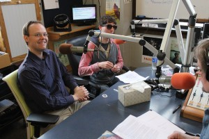 Radio + Resonate: Radi8er's Jim Czarew, left, and Rob Anthony talk about the music platform during Local Spins on WYCE. (Photo/Anna Sink)