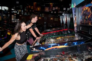 Playing the Stage and Playing Pinball: Grand Rapids electronic rock's AOK at The Pyramid Scheme. (Photo/Tori Thomas)