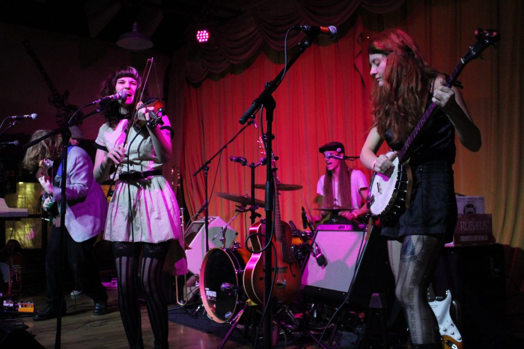 Indie-Folk Fire: Olivia Mainville & The Aquatic Troupe performing recently at Founders Brewing. (Photo/Anna Sink)