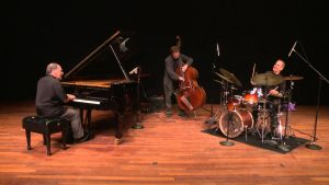 Varied Musical Projects: Jeff Haas performing on stage  as a trio.