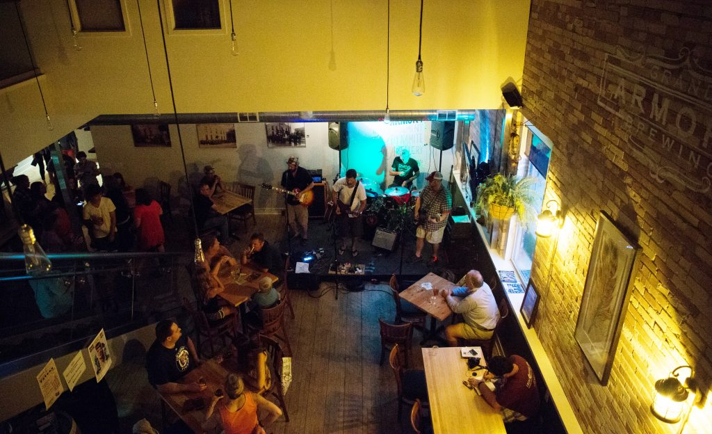 Working Out Wonderfully: Grand Armory Brewing showcases live music from local bands such as Room Full of Elephants. (Photo/Loren Johnson)