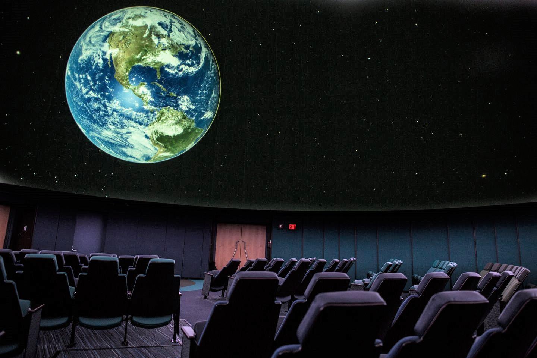 Inside the Roger B. Chaffee Planetarium.